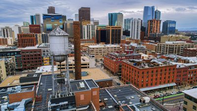 Arial view of the city of Denver downtown area which benefits from Municipal Bond Funds