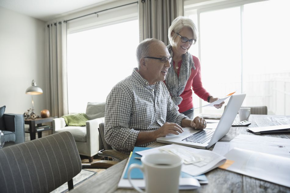 Couple viewing retirement plan