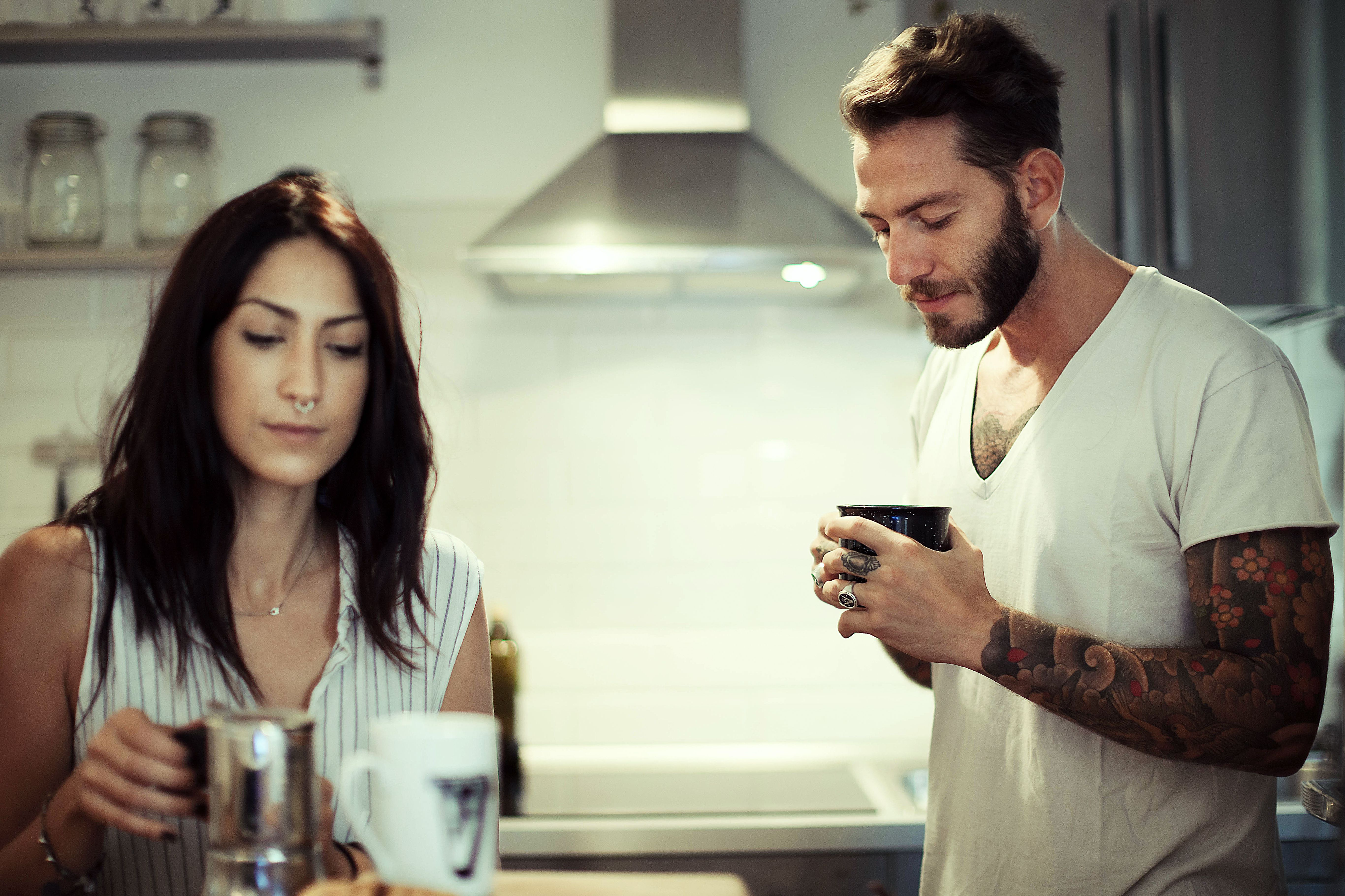 Couple not talking at home