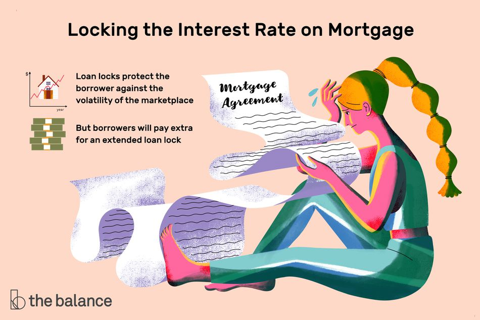 Illustration of a stressed woman sitting on the floor looking at a long mortgage document. Text explains what a loan lock is.