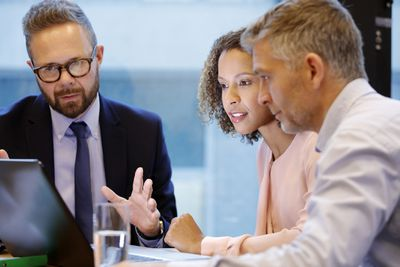 Financial advisor having a meeting with couple