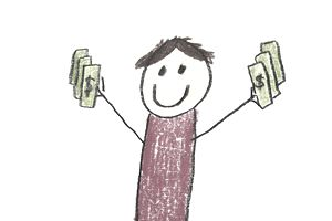 Crayon drawing of a person holding money in both hands.
