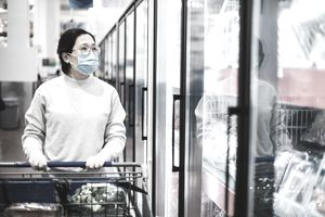 Asian female wearing a face mask shopping at the supermarket.