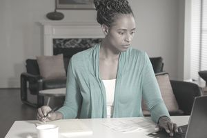 African-American Woman Working from Home Office