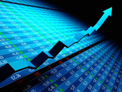 graphic of a stock market display with an arrow climbing up away from it showing a stock rising in value.