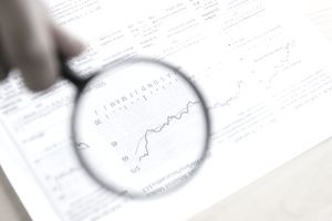 Financial graph with magnifying glass