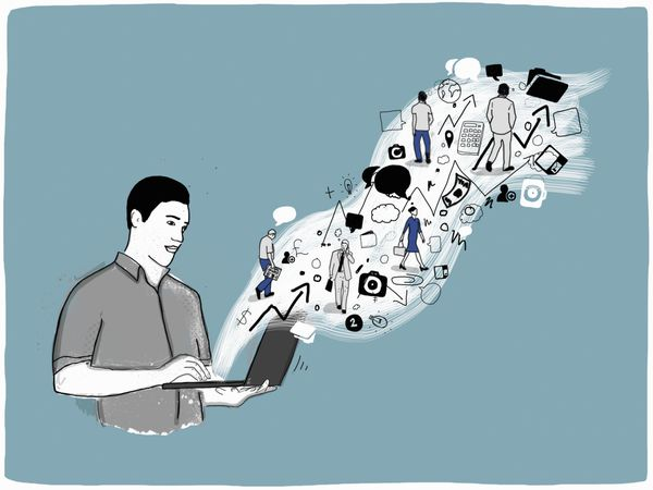 illustration of man using a laptop to access calculators, advisors, and other information sources