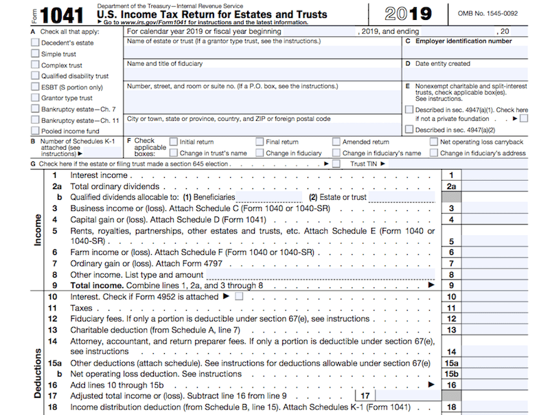 Form 1041, page 1