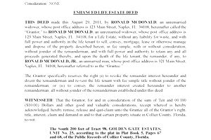 Florida Enhanced Life Estate Deed