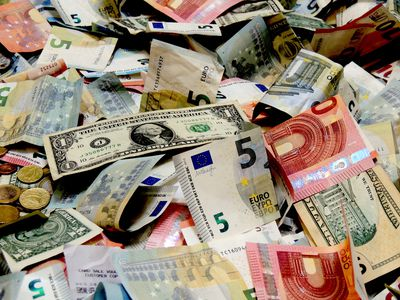 Assortment of notes and coins used for foreign exchange trading