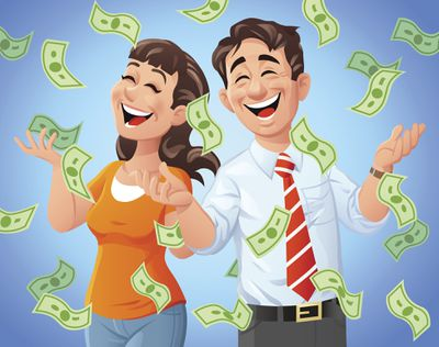 Money raining down on a happy man and woman.