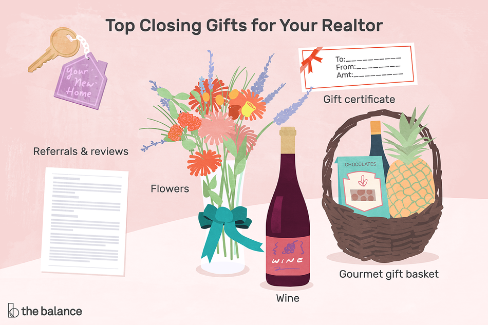 Image shows top closing gifts for your realtor like referrals and reviews, wine, flowers, gift baskets, and gift cards.