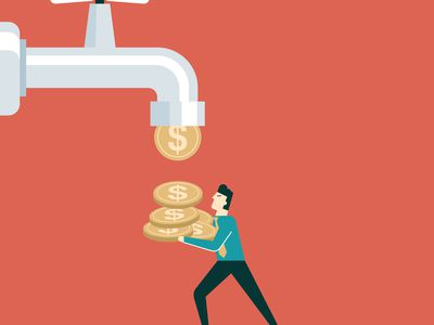 A man catching coins dripping from a tap, illustrating the concept of dividend payments