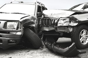 Two damaged cars after a collision
