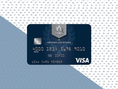 The front side of the USAA Preferred Cash Rewards credit card features a deep blue background, with the silver USAA logo at the top center of the card.