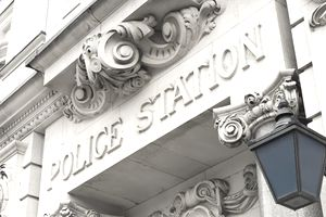 Traditional Police Station Sign and Lantern