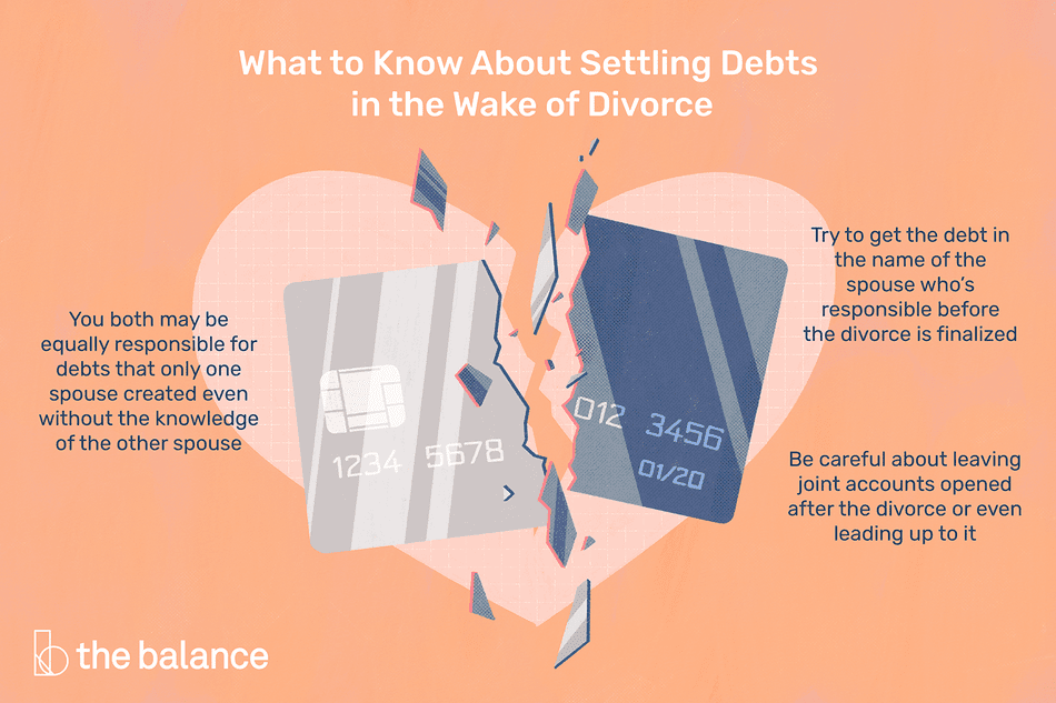 Graphic of a broken credit card to represent the need to settle debts during a divorce.