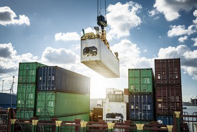 Refrigerated container being loaded on a container ship