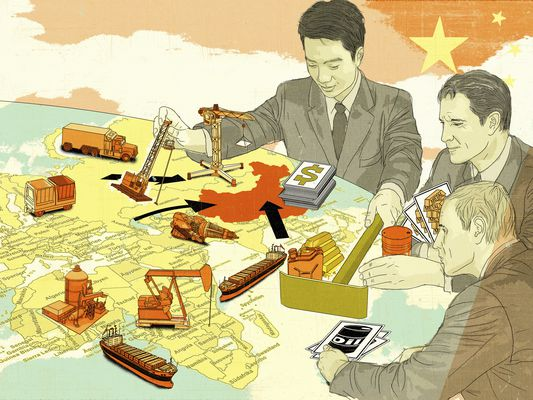 Illustration of three men around a global map moving oil rigs, container vessels and other game pieces to signify U.S. debt to China