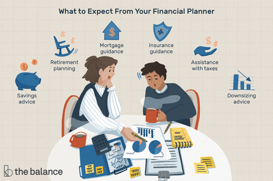"Image shows two people reviewing multiple financial documents. Text reads: ""What to expect from your financial planner: savings advice; retirement planning; mortgage guidance' insurance guidance; assistance with taxes; downsizing advice"""