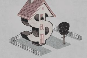Illustration of a home shaped like dollar sign