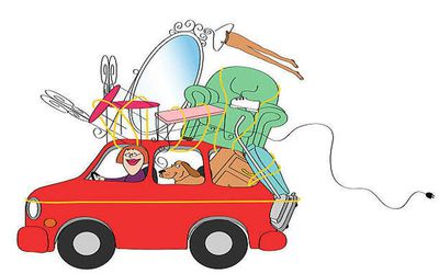 Illustration of woman driving her car loaded with furniture and her dog to another state