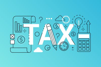 Tax word trendy composition banner. Outline stroke tax payments, financial law consulting, refund, business income report. infographic concept. Flat line icons vector header illustration.