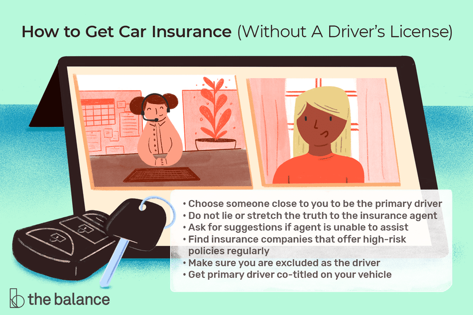 "Image shows two people on a video call with car keys in front of the screen. Text reads: ""How to get car insurance without a driver's license: Choose someone close to your to be the primary driver; do not lie or stretch the truth to the insurance agent; ask for suggestions if agent is unable to assist; find insurance companies that offer high-risk policies regularly; make sure you are excluded as the driver; get primary driver co-titled on your vehicle."""