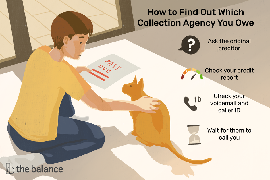 "Image shows a person looking sad and petting a cat, holding a piece of paper that says ""past due"". Text reads: ""how to find out which collection agency your owe: ask the original creditor; check your credit report; check your voicemail and caller ID; wait for them to call you"""