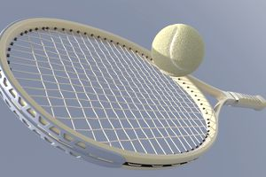 A tennis racket stopping and reversing the direction of a tennis ball