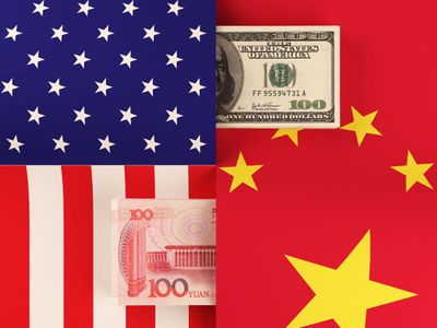 Graphic with U.S. flag and Chinese flag and the opposite country's currency bill on top of each.