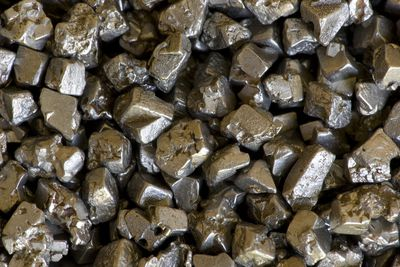 Closeup of Platinum Crystals mined from a crater. Eastern Siberia, Kondyor Massif, in far eastern Russia
