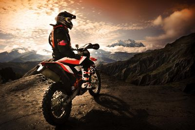 Bolivia, Motorcyclist in mountains