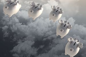 photo illustration of flying piggy banks