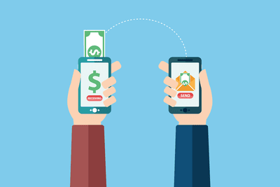 illustration showing one smartphone sending money to another smartphone