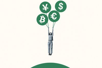 Woman hanging from green currency symbol balloons