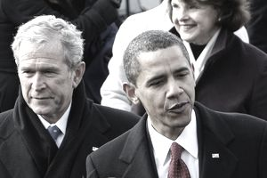 President Bush and President Obama in 2009, representing that year's federal spending.