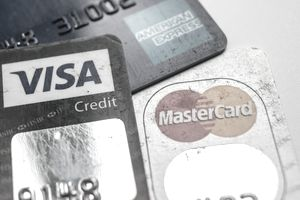 A close-up of three credit cards