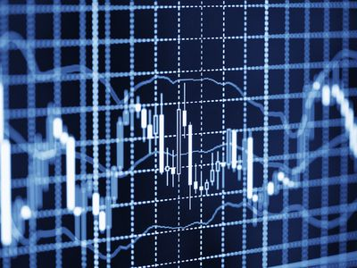 Candlestick chart shows Forex price movements on a black screen with blue and white grid lines