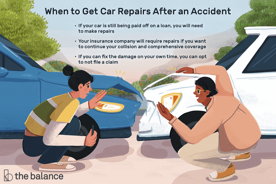 "This illustration describes when to get repairs after an accident including ""If your car is still being paid off on a loan, you will need to make repairs,"" ""Your insurance company will require repairs if you want to continue your collision and comprehensive coverage,"" and ""If you can fix the damage on your own time, you can opt to not file a claim."""