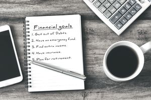 Financial Goal Typed on Note Pad