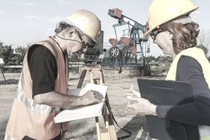 workers at an oil field