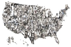 Map of the United States made up of photos of people representing the concept of income per capita.