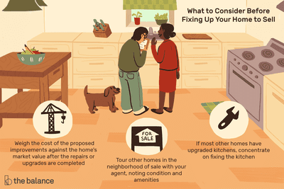 Illustration depicting several things to consider before fixing up a home to sell