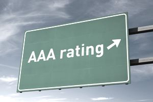 Highway sign that says AAA Rating with an arrow pointing right