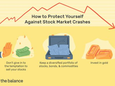 Image shows how to protect yourself against stock market crashes. Don't give in to the temptation to sell your stocks Keep a diversified portfolio of stocks, bonds, and commodities Invest in gold