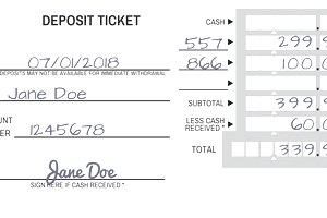 A sample deposit slip filled out for a bank deposit