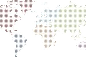 Dotted world map with colored continents