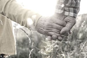 Close up of mature couple hands holding in meadow
