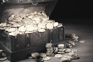 Treasure chest filled with unclaimed gold coins